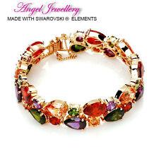 18K Gold Crystal Bracelet With Swarovski Elements Colourful Crystal Bangle