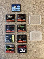 Compact Flash CF Card Lot Of 9 SanDisk Transcend Lexar RiData 8gb 32gb 64gb