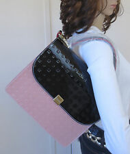 NWT Designer ARCADIA Made in Italy Black Pink White Saffiano Leather Handbag