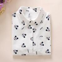 Women Cotton Shirts Spring New Long Sleeve Mickey Mouse White Blouses Female