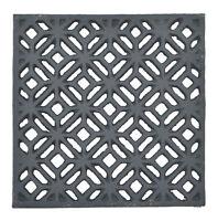 "Decorative Square Black Cast Iron Trivet Ornate Diamond Hot Pad Decor 5.25"" Wide"