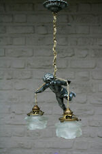 Antique French bronze angel putti 2 arm tulip glass shade chandelier pendant