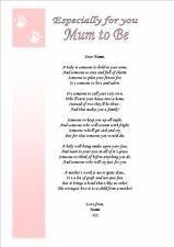 Personalised Poem Keepsake Mother to Be Mum 2 Be Baby Shower Card