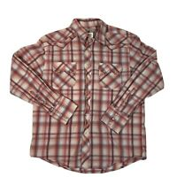 Men's Wrangler Pearl Snap Button Up Western Shirt Size L Pink Red Blue Plaid
