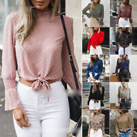 Women Ladies Chiffon Long Sleeve High Neck T-Shirt Tie-Front Cropped Tops Blouse