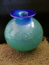 MURANO EMPOLI Cobalt blue - green w/ speckled gold tone- Bulbous Vase