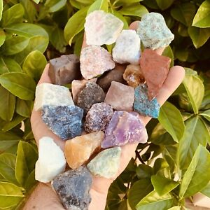 1 Pound of Mixed Gemstones & Crystals - Natural Raw Minerals(Bulk Lot)FREE CHART