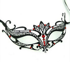 LASER CUT Venetian Masquerade Costume Red Crystals Prom Party Wedding Black Mask