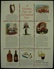 Old Original Magazine Advert Guinness Page For Coronation Year 1953