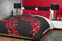 Logan & Mason YOKO Blossoms Black Red DOUBLE Quilt Doona Cover Set
