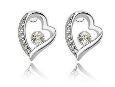 Elegant & Stylish White Zircon Top Quality Hearts Shaped Studs Earrings E316