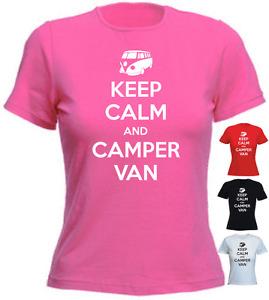 Keep Calm And Camper Van Birthday Present Gift New Ladies T-shirt