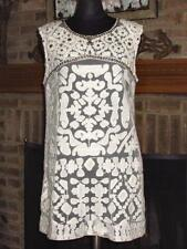 PINKO WHITE FLOWER SHEER MESH SHIFT DRESS w/ BEADS STUDS 8