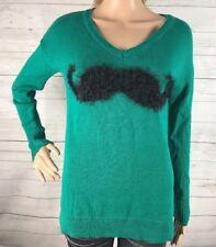 Copper Key Mustache Sweater Small Dark Teal Green 100% Cotton Funny Design