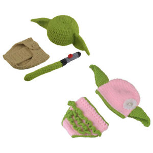 Baby Yoda Hat Beanie Toddler Anime Hats Outfits Crochet Knit Photography Prop
