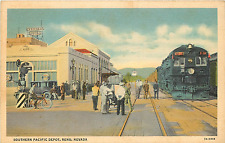 RENO NV SOUTHERN PACIFIC DEPOT/RAILROAD STATION 1937 LINEN POSTCARD