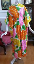 1960`s Caftan Dress Zinnias floral Bright Oranges and Pinks Stunning