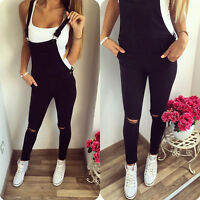Women Denim Bib Knee Ripped Hole Pants Overalls Jeans Denim Trousers Jumpsuit