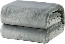 Bedsure Flannel Fleece Throw Blankets Silver Grey Throw/Single,