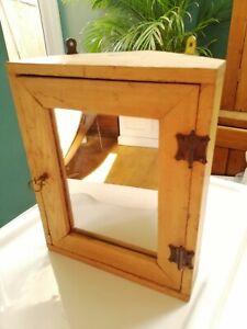 Vintage Rustic Stripped Pine Bathroom Corner Cabinet Mirror