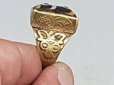 Stunning Rare Roman Era Phoenician Gold Gilted Ring 15,5 Gr 19 Mm