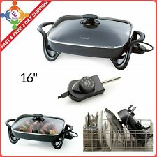 Large Deluxe Nonstick Electric Skillet Frying Fry Pan Buffet Server Glass Cover