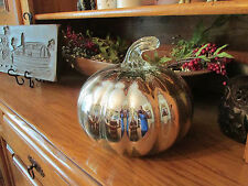Pottery Barn SILVER MERCURY GLASS LARGE PUMPKIN~NEW IN BOX~ FALL~THANKSGIVING