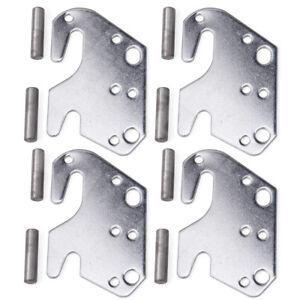"4Pcs 2"" Universal Wood Bed Rail Bracket Metal Claw Hook Plates"