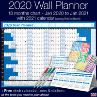 2020 Year Planner Wall Chart ✔Staff ✔Holidays+Stickers+Pens+Desk Calendar ✔BLUE