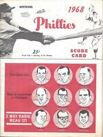 1968 8/19 baseball program St. Louis Cardinals Philadelphia Phillies Bob Gibson