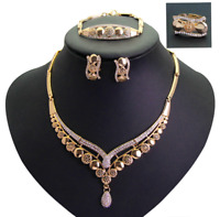 Gold Plated Diamante Necklace Earrings Bracelet Ring Jewellery Set
