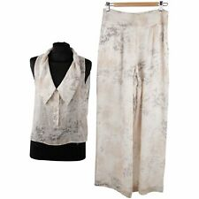 Authentic Krizia Silk Sleeveless Top and Wide Leg Trousers Set Size 42