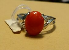 Size 6 3/4 Hawaiian Jewelry Red Coral 14K White Gold Solid Ring