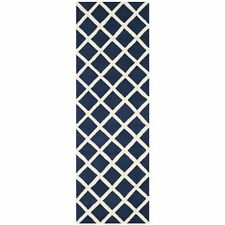 Dark Blue/Ivory Hand-Tufted Moraccan Wool Runner Rug 2' 3 x 9'