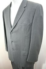 40s 50s VTG ~ Gray Striped Wool Suit ~ 3 Button ~ Pleated / Cuffed Pants ~ 46 Lg