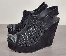 Pedro Garcia 'Tonya' Black Perforated Suede Wedge Bootie Womens size 11/41 $550