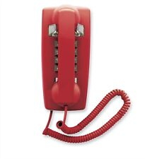 Scitec 25403 2554E Red Retro Corded Push Button Wall Phone Old School Telephone