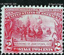 """US 1907 SC 329 2¢ CARMINE """"FOUNDING OF JAMESTOWN"""" MHR OG P12 WM 191 F/VF"""