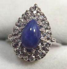 10k White Gold 1 Ct Blue Star Sapphire Cabochon Diamond Halo Wedding Ring 4 1/4
