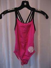 Speedo Girl's Dark Pink & Black Solid One Piece Swimsuit/Bathing Suit Sz 7 NWWT