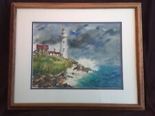 VTG Signed Original Watercolor Painting Seascape Lighthouse Seagulls STUNNING!!!