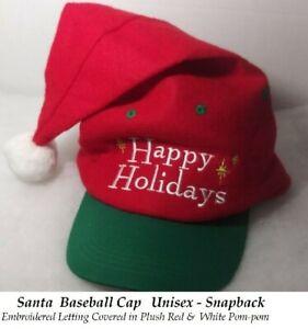 Unisex Santa Hat Christmas Hat Holiday Plush Baseball Cap Embroidered