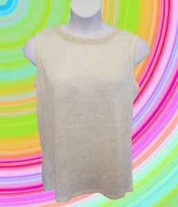 NEW Pearl Neck Tank Top Size XL 14 16 Shirt Shell Sleeveless Cream Knit  NWT