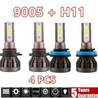 Combo 9005 + H11CREE LED Headlight Bulbs Kit 4000W 600000LM High Low Beam 6500K