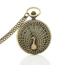 Steampunk Vintage Peacock Hollow Necklace Pendant Chain Fob Pocket Watch Gift