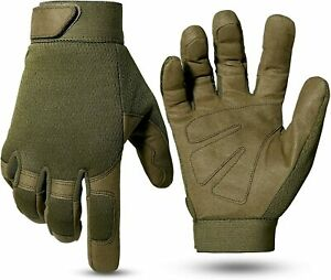 Military Full Finger Paintball Work Tactical Mechanic Gloves (Grey,Size:L)