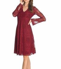 BRAND NEW WOMEN LADIES LONG TALL SALLY  V-NECK DARK RED LACE DRESS.