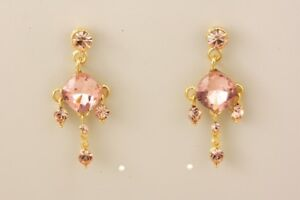 SPARKLING PEACH COLOURED EARRINGS IN GENUINE AUSTRIAN CRYSTALS