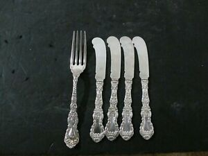 Gorham Imperial Chrysanthemum 4 Butter Knives and 1 Fork