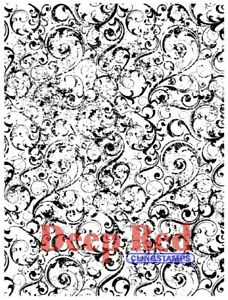 Deep Red Stamps Grunge Swirl Background Rubber Cling Stamp